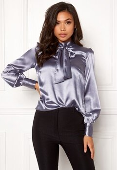 BUBBLEROOM Molly bow blouse Grey-blue Bubbleroom.se