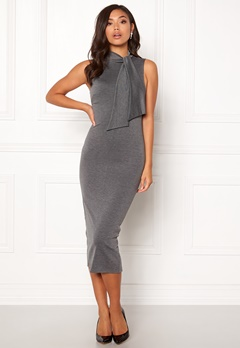 BUBBLEROOM Molly collar tie dress Dark grey Bubbleroom.se