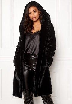 BUBBLEROOM Molly faux fur coat Black Bubbleroom.se