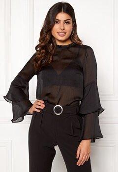 BUBBLEROOM Nadia flounce shirt Black Bubbleroom.se