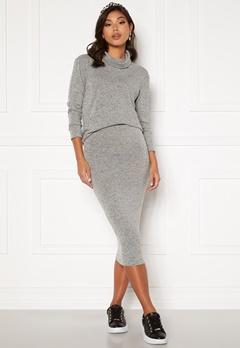 BUBBLEROOM Nalia fine knitted skirt Light grey melange bubbleroom.se