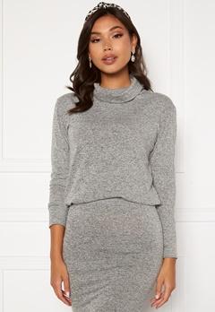 BUBBLEROOM Nalia fine knitted sweater Light grey melange bubbleroom.se