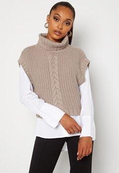BUBBLEROOM Nanja knitted vest Dark beige bubbleroom.se