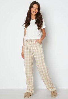 BUBBLEROOM Naya flannel pants Beige / White / Checked bubbleroom.se