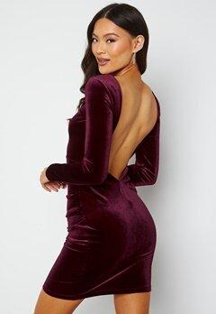 BUBBLEROOM Nemue Velvet Heartshape Back Dress Wine-red bubbleroom.se