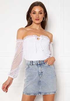 BUBBLEROOM Nilla offshoulder top White Bubbleroom.se