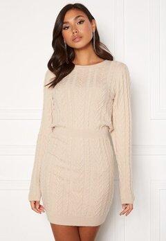 BUBBLEROOM Rishi knitted dress Light beige Bubbleroom.se