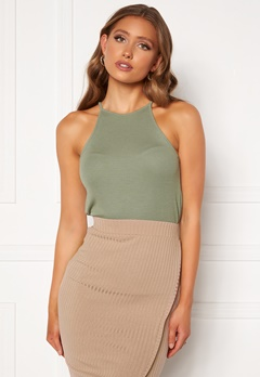 BUBBLEROOM Ruthie high neck top Dusty green Bubbleroom.se