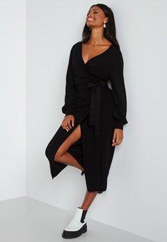 BUBBLEROOM Ryann knitted wrap dress Black bubbleroom.se