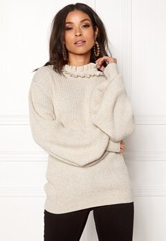 BUBBLEROOM Sally knitted sweater Beige melange Bubbleroom.se