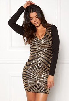 BUBBLEROOM Scarlett sequin dress Black / Gold Bubbleroom.no
