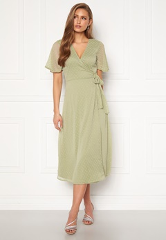 BUBBLEROOM Scarlette midi dotted dress Dusty green Bubbleroom.se