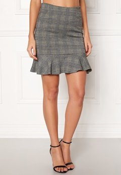 BUBBLEROOM Serena flounce skirt Grey / Yellow / Checked Bubbleroom.se
