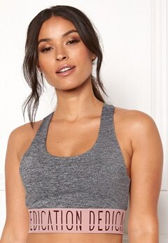 BUBBLEROOM SPORT Crave it sport bra Dark grey melange / Pink / Print Bubbleroom.se