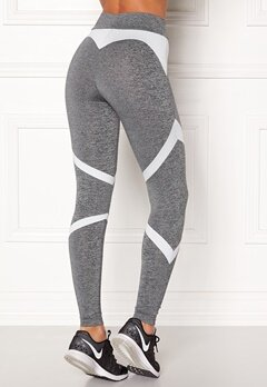 BUBBLEROOM SPORT Fierce Sport Tights Dark grey melange / White Bubbleroom.se