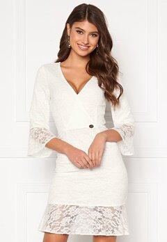 Chiara Forthi Pearl flounce wrap dress White Bubbleroom.se