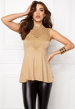 BUBBLEROOM Tamale peplum top Gold-coloured Bubbleroom.fi