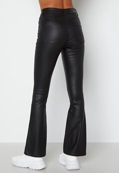 BUBBLEROOM Tove high waist coated flared jeans Black bubbleroom.se