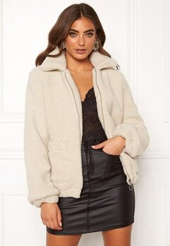 BUBBLEROOM Tove teddy jacket Light beige Bubbleroom.se