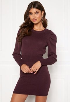 BUBBLEROOM Tua knitted dress Wine-red Bubbleroom.se