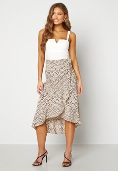 BUBBLEROOM Villima midi skirt Beige / Black / Dotted Bubbleroom.se