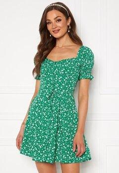 BUBBLEROOM Violie puff sleeve dress Green / White / Floral Bubbleroom.se