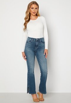 BUBBLEROOM Wendy side slit jeans Medium denim bubbleroom.se