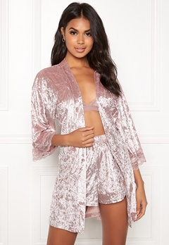 BUBBLEROOM Wilda velvet robe Dusty pink Bubbleroom.se