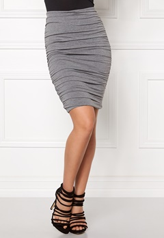 BUBBLEROOM Wrinkled skirt Grey melange Bubbleroom.no