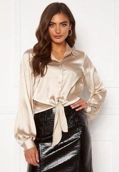 BUBBLEROOM Zamira puff sleeve shirt Champagne Bubbleroom.se