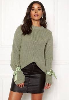 BUBBLEROOM Casey knitted sweater Dusty green Bubbleroom.se