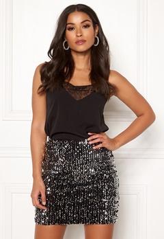 BUBBLEROOM Nera sequin skirt Black / Silver Bubbleroom.se