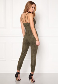 BUBBLEROOM Blair suede Jumpsuit Dusty green Bubbleroom.eu
