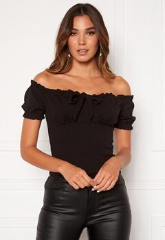 BUBBLEROOM Jenna off shoulder top Black Bubbleroom.se