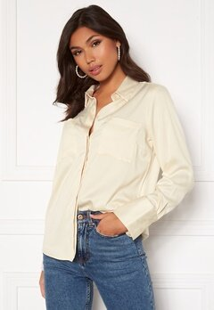 BUBBLEROOM Kelsey utility satin shirt Cream Bubbleroom.se