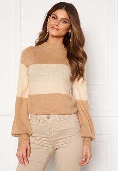 BUBBLEROOM Linette block knitted sweater Light beige Bubbleroom.se