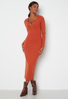 BUBBLEROOM Majda long sleeve dress Rust Bubbleroom.se