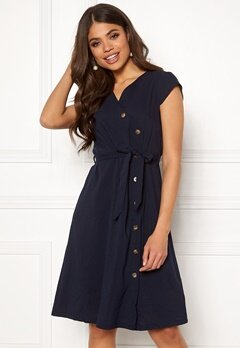 Blue Vanilla Button Through Midi Dress Navy Bubbleroom.se