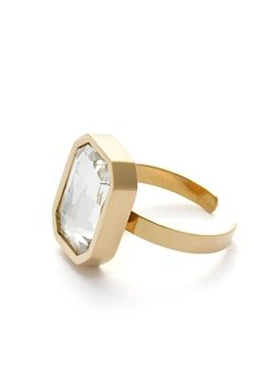 BY JOLIMA Sabina Square Ring Crystal Gold Bubbleroom.se