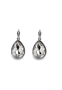 BY JOLIMA Tear Drop Earring Crystal Silver Bubbleroom.se