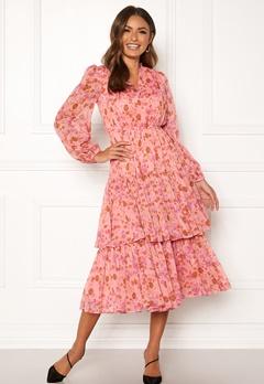 byTiMo Chiffon Layered Dress 876 Pink Garden Bubbleroom.se
