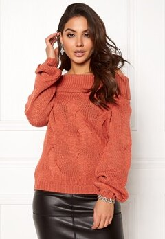 VILA Cabla Knit Offshoulder Redwood Bubbleroom.se
