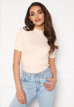 Calvin Klein Jeans Logo Trim Rib Tee White Sand Bubbleroom.se