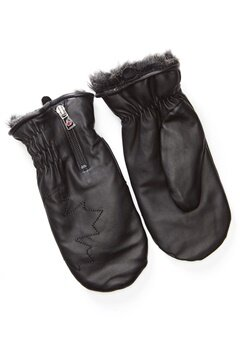 Canada Snow Kläppen Leather Mitts Black Bubbleroom.se