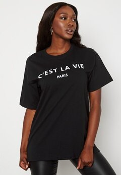AX Paris Cest La Vie T-shirt Black Bubbleroom.se