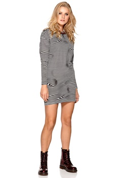 CHEAP MONDAY Assy Stripe Dress Liquid Dirty White Bubbleroom.fi