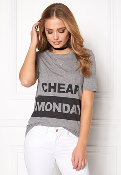 CHEAP MONDAY Break Block Logo Tee Grey Melange Bubbleroom.se