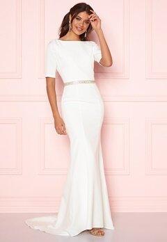 Chi Chi London Demi Diamonte Dress White Bubbleroom.se