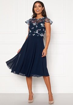 Chi Chi London Novah Midi Dress Navy Bubbleroom.se