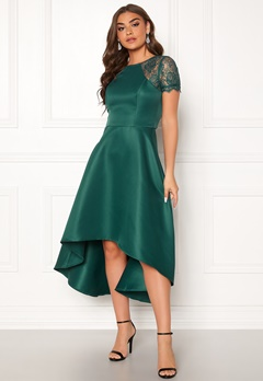 Chi Chi London Rachel High low Dress Emerald Bubbleroom.se